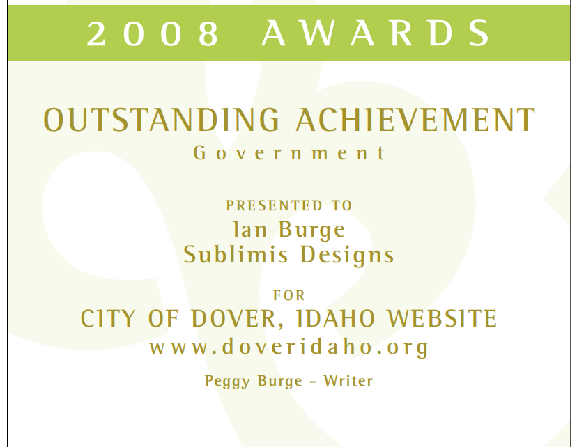 Interactive Media Awards - Dover Idaho Website